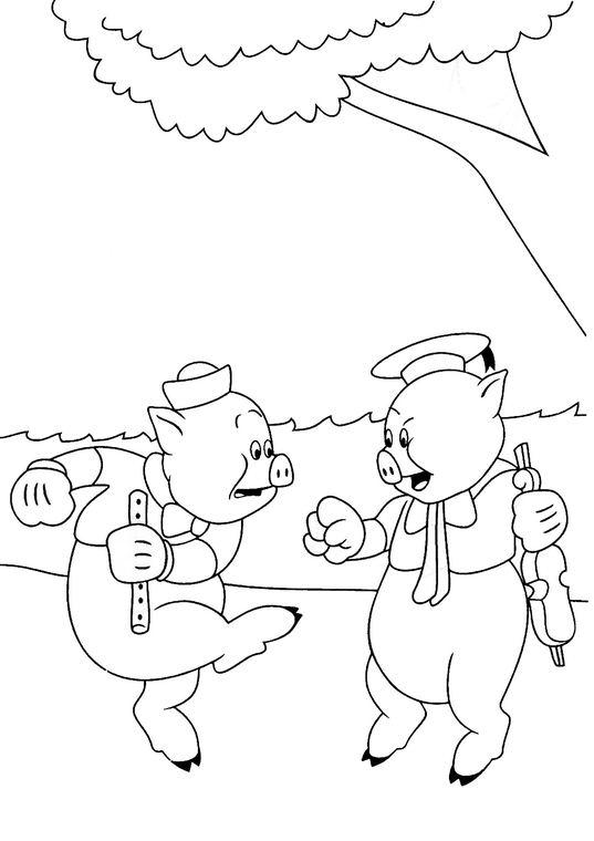 Coloriage les trois petits cochons 11 - Dessin des 3 petit cochon ...
